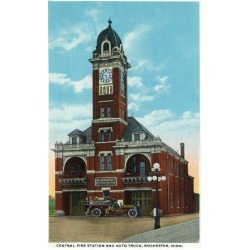 Art Print: Rochester, Minnesota - Central Fire Station Exterior View by Lantern Press: 24x18in