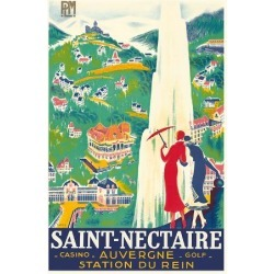 Giclee Print: Saint-Nectaire - Auvergne, France - Casino, Golf - Station du Rein - PLM French Railroad by Roger De Valerio: 20x16in