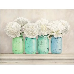 Giclee Print: Peonies in Mason Jars by Jenny Thomlinson: 38x50in found on Bargain Bro Philippines from Art.com for $100.00