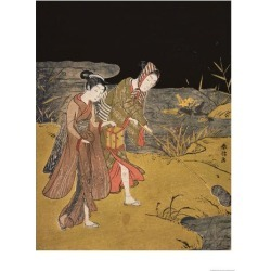 Giclee Print: A Young Couple Catching Fireflies at Night on the Banks of a River by Suzuki Harunobu: 24x18in found on Bargain Bro from Art.com for USD $22.80
