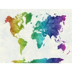 Art Print: World Map in Watercolor Rainbow by paulrommer: 24x18in