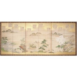 Giclee Print: Six Panel Screen with Birds and Flowers of the Twelve Months (Ink, Colour and Gold Leaf on Paper) by Tosa Mitsunari: 18x12in