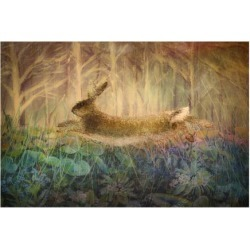 Premium Giclee Print: Giant Hare leaps by Claire Westwood: 30x40in