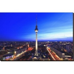 Stretched Canvas Print: Television Tower on Alexanderplatz Square at Dusk, Berlin, Germany: 24x37in found on Bargain Bro Philippines from Art.com for $160.00