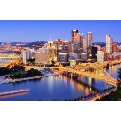 Photographic Print: Downtown Pittsburgh, Pennsylvania at Dusk. by SeanPavonePhoto: 24x16in