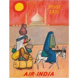 Giclee Print: Middle East - Air India - Maharaja with Burka Veiled Woman by J B. Cowasji: 14x11in