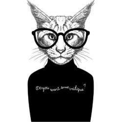 Art Print: Hand Drawn Stylized Portrait of Cat Look like Critique, Whose Wearing Glasses and a Sweater. by artant: 12x12in