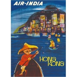 Premium Giclee Print: Hong Kong Maharaja - Air India by J.B. Cowasji: 24x18in