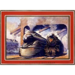Giclee Print: Pennsylvania Railroad, Steam Locomotive Art Print by Grif Teller by Grif Teller: 24x32in