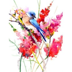 Giclee Print: Bluebird And Red Flowers by Suren Nersisyan: 32x24in found on Bargain Bro Philippines from Art.com for $70.00