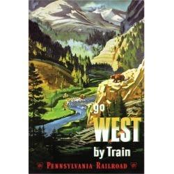 Art Print: Go West By Train: 24x18in