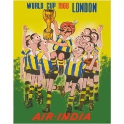 Giclee Print: 1966 World Cup London, England - Air India - Maharaja Soccer Player by Pacifica Island Art: 20x16in