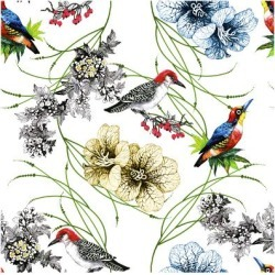Art Print: Watercolor Hand Drawn Seamless Pattern with Tropical Summer Flowers and Exotic Birds on White Backg by KostanPROFF: 12x12in