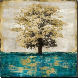 Stretched Canvas Print: Stately - Aqua with Gold by Eric Turner: 40x40in found on Bargain Bro from Art.com for USD $110.96