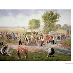 Giclee Print: Mormon Pioneers Pulling Handcarts on the Long Journey to Salt Lake City in 1856: 24x18in