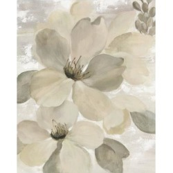 Art Print: White On White Floral II Crop Neutral by Silvia Vassileva: 24x18in