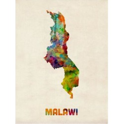 Art Print: Malawi Watercolor Map by Michael Tompsett: 24x18in found on Bargain Bro India from Art.com for $20.00