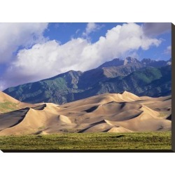 Stretched Canvas Print: Sand dunes with Sangre de Cristo Mountains, Great Sand Dunes National Park, Colorado by Tim Fitzharris: 18x24in found on Bargain Bro from Art.com for USD $47.88