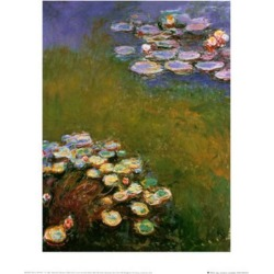 Art Print: Water Lilies, Harmony in Blue Wall Art by Claude Monet by Claude Monet: 20x16in found on Bargain Bro from Art.com for USD $17.48