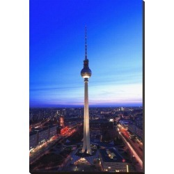 Stretched Canvas Print: Television Tower on Alexanderplatz Square at Dusk, Berlin, Germany: 44x29in found on Bargain Bro Philippines from Art.com for $200.00