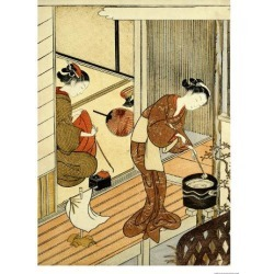Giclee Print: Returning Sails of the Towel Rack Art Print by Suzuki Harunobu by Suzuki Harunobu: 24x18in found on Bargain Bro from Art.com for USD $22.80