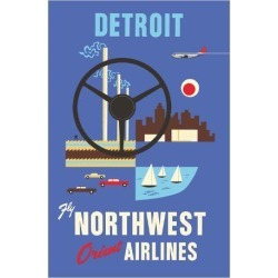 Giclee Print: Detroit, Michigan - Motown, Motor City - Fly Northwest Orient Airlines by Pacifica Island Art: 44x30in found on Bargain Bro India from Art.com for $70.00