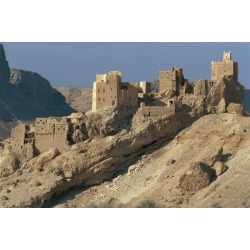Photographic Print: Yemen, Province of Sanaa, Traditional Mud Brick Houses on Mountain Side: 24x16in