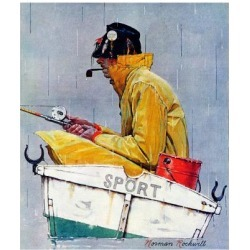 Giclee Print: Fishermen Art Print by Norman Rockwell by Norman Rockwell: 16x12in