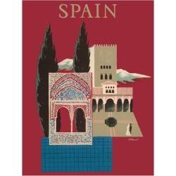 Giclee Print: Spain - Spanish Mosaic Building by Bernard Villemot: 26x20in