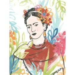 Art Print: Portrait of Frida I by June Erica Vess: 12x9in found on Bargain Bro from Art.com for USD $11.40