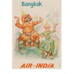 Premium Giclee Print: Bangkok, Thailand - Air India - Maharaja with Thai Classical Khon Dancer: 16x12in