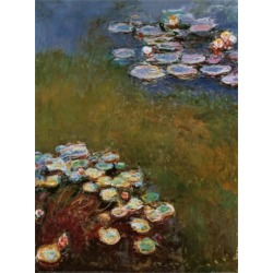 Art Print: Water Lilies, Harmony in Blue Art Print by Claude Monet by Claude Monet: 31x24in found on Bargain Bro from Art.com for USD $22.80