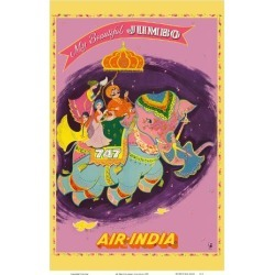 Art Print: My Beautiful Jumbo - Boeing 747 Jumbo Jet - Air India by Pacifica Island Art: 18x12in