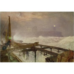 Giclee Print: Blue Lights, Teignemouth Pier - Lighting the Lamps at Sunset, 1868 by Alfred William Hunt: 24x18in
