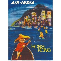 Art Print: Hong Kong Maharaja - Air India by J.B. Cowasji: 12x9in