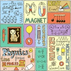 Art Print: Physics Science Banners Set. Color Hand Drawn Vector Illustrations. by Sashatigar: 12x12in