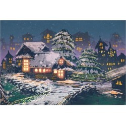 Art Print: Night Scene of Wooden Houses with Christmas Lights, Illustration Painting by Tithi Luadthong: 24x16in
