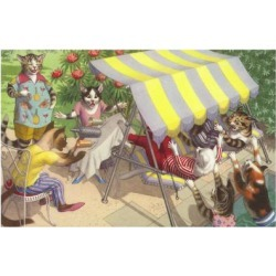 Giclee Print: Cats Falling Off a Swing Bench: 24x16in