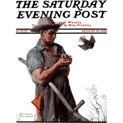 """Giclee Print: """"Farmer and the Bird"""" or """"Harvest Time"""" Saturday Evening Post Cover, August 18,1923 by Norman Rockwell: 16x12in"""