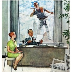 """Giclee Print: """"Window Washer"""", September 17,1960 Art Print by Norman Rockwell by Norman Rockwell: 16x16in"""