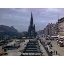 Photographic Print: Pedestrians and Trams Pass Gardens and Memorial on Princes Street by B. Anthony Stewart: 16x12in