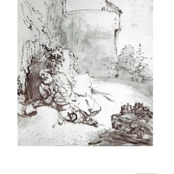 Giclee Print: Jonah at the Walls of Niniveh, Mesopotamia, Pen and Brown Ink Drawing by Rembrandt van Rijn: 16x12in