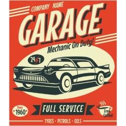 Art Print: Retro Car Service Sign. Vector Illustration. by Laralova: 24x18in