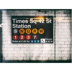 Giclee Print: Subway Times Square - 42 Street Station - Subway Sign - Manhattan, New York City, USA by Philippe Hugonnard: 16x12in