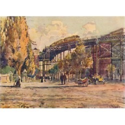 Giclee Print: 'Elevated Railway, New York', 1916 by Martin Lewis: 12x9in found on Bargain Bro India from Art.com for $22.00
