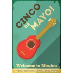 Art Print: Mexican Guitar. Posters in Retro Style. Cinco De Mayo. Vector Illustration. by Vector Posters and Cards: 24x16in
