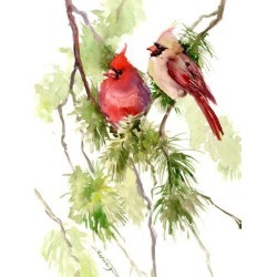 Giclee Print: Cardinal Pair by Suren Nersisyan: 24x18in found on Bargain Bro Philippines from Art.com for $40.00