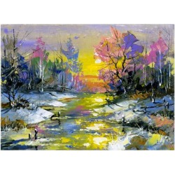 Art Print: The Winter Landscape Executed By Oil On A Canvas by balaikin2009: 24x18in