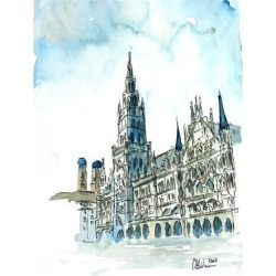 Giclee Print: Munich City Hall Aquarell by M Bleichner: 40x30in found on Bargain Bro from Art.com for USD $55.48