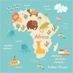 Art Print: Animals World Map Africa by coffeee in: 12x12in